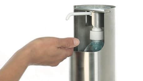 Hygiène des mains : Borne pour gel hydroalcoolique tout public